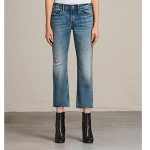 All Saints Serene Cropped Distressed Jeans